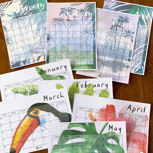 TROPICAL COAST Simple Calendar