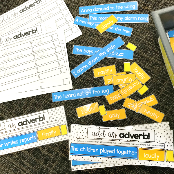 Adverb Sentence Building Activity