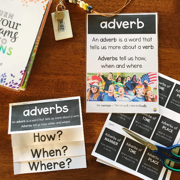 Introducing Adverbs - Foldable + Poster + Powerpoint