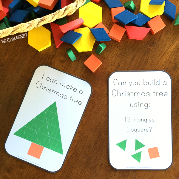 2D Shape Christmas STEM Pattern Challenge Cards