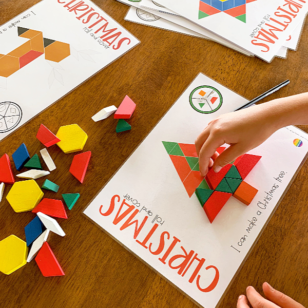 Christmas Pattern Block Spin and Cover Math Centre