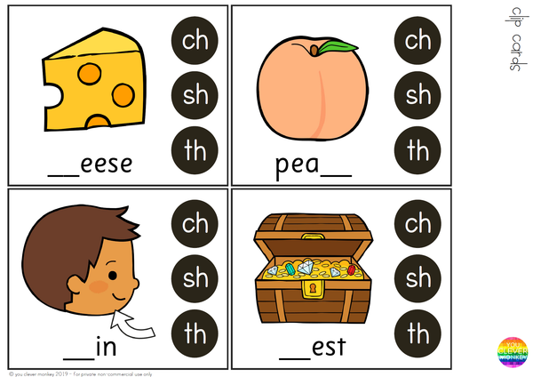 Digraph Clip Cards - CH SH TH