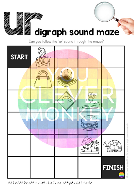 Digraph Sound Mazes + I Spy Games - Bossy 'R' Sound UR