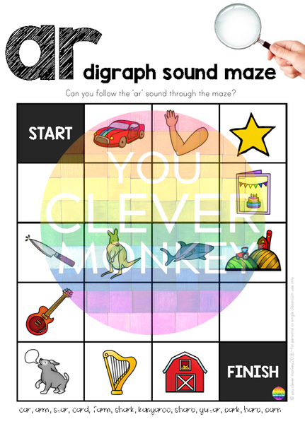 Digraph Sound Mazes + I Spy Games - Bossy 'R' Sound AR