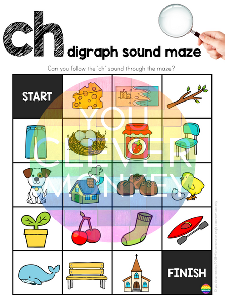Digraph Sound Mazes + I Spy Games - CH Sound