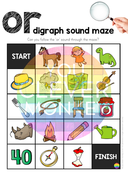 Digraph Sound Mazes + I Spy Games - Bossy 'R' Sound OR