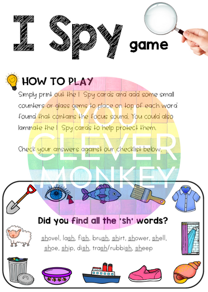 Digraph Sound Mazes + I Spy Games - SH Sound