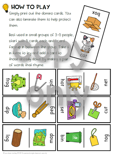 Domino Short Vowel Sound Word Family Cards