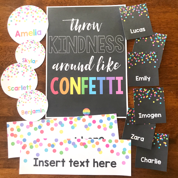 CONFETTI Editable Classroom Labels + Posters