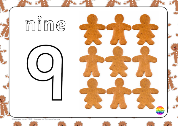 Christmas Playdough Gingerbread Number Mats 1-10