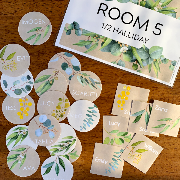 Gum Leaf Classroom Labels and Signs