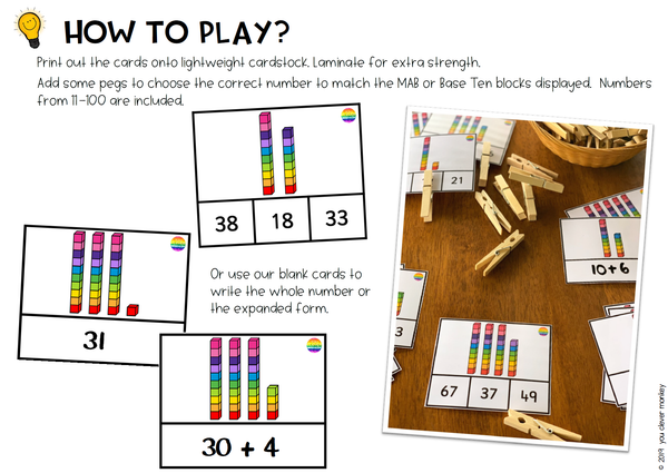 Place Value Base 10 Clip Cards - Numbers 11-99