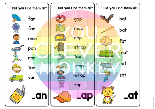 Rhyming Short Vowel Sound Word Family I Spy Mats - AN/AP/AT Pack