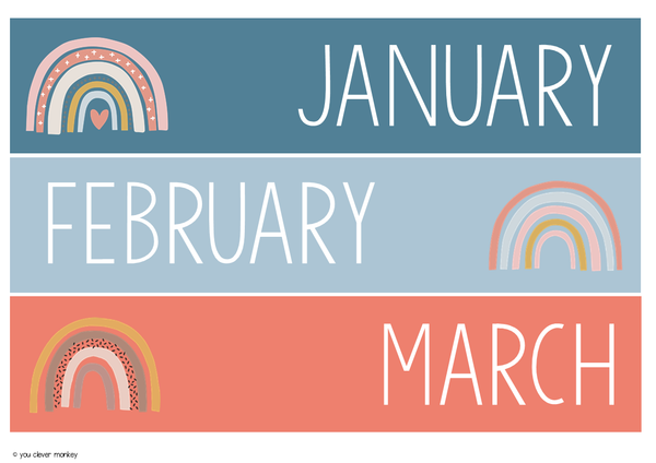 BOHO RAINBOW Evergreen Calendar + Months of the Year Display