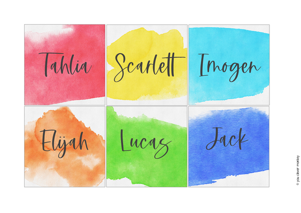 WATERCOLOUR PAINT Classroom Labels + Signs Pack
