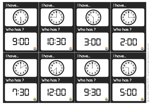 Telling Time I Have, Who Has Loop Card Game - Hour + Half Hour