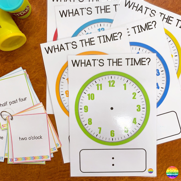 Telling Time Playdough Mats - Hour + Half Hour Time