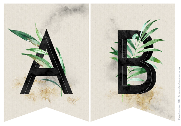 TROPICAL Alphabet Bunting (Black Letters)