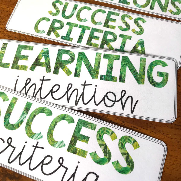 TROPICAL COAST Learning Intention + Success Criteria Pack