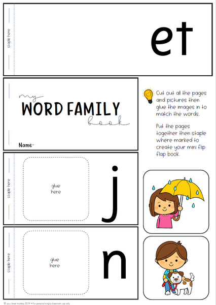 Word Family Short Vowel Sound Flip Books