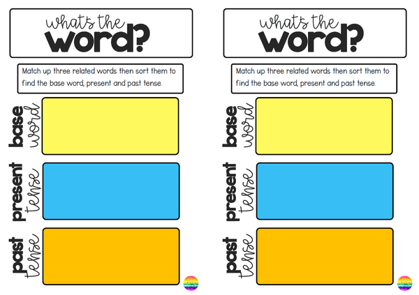 Verbs - Present + Past Tense Word Work Task