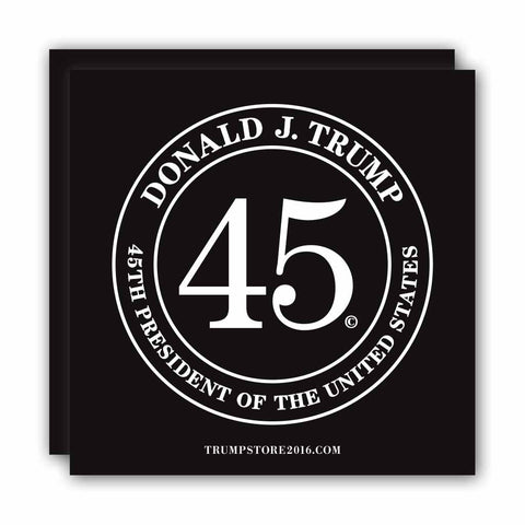 (Pack of 2) Donald Trump 45th President Bumper Sticker - Black