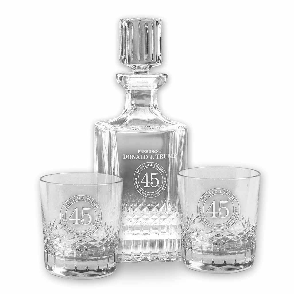 Trump 45 Crystal Decanter and Rocks Set