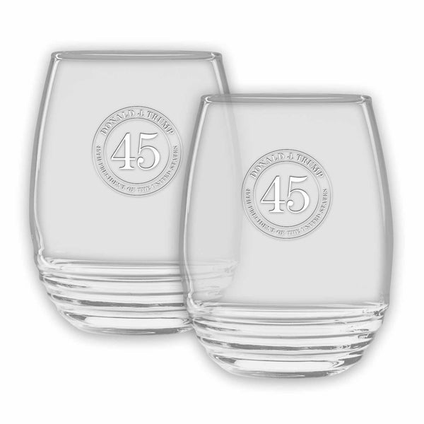 Trump 45 Deco Stemless Wine Glasses-Set of 2-(Personalization Option)