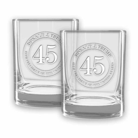 Trump 45 Double Old Fashioned Glasses - Set of 2 - (Personalization)