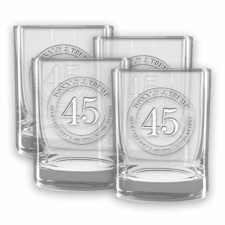 Trump 45 Double Old Fashioned Glasses (set of 4) (Personalization)