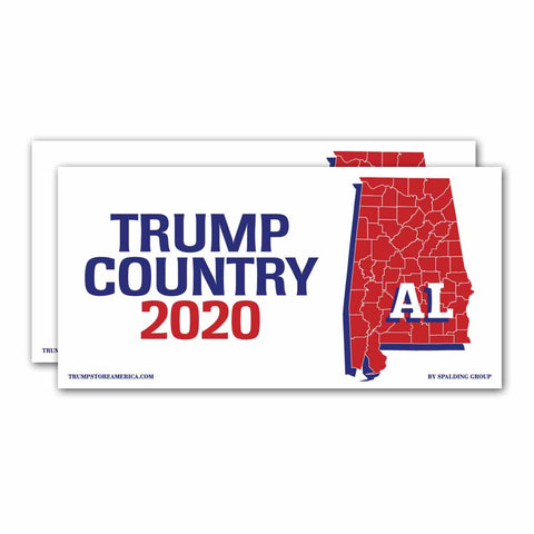 Alabama is Trump Country 2020 - Bumper Sticker Pack of 2