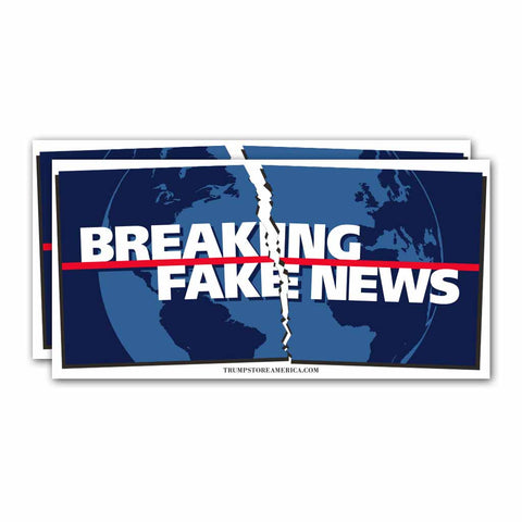 "(Pack of 2) Bumper Sticker - ""Breaking Fake News"""