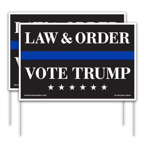 Trump 2020 Yard Sign - Law and Order 2pk
