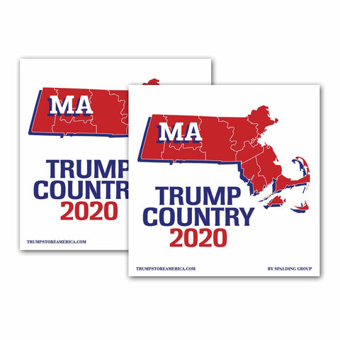 Massachusetts is Trump Country 2020 – Bumper Sticker pack of 2