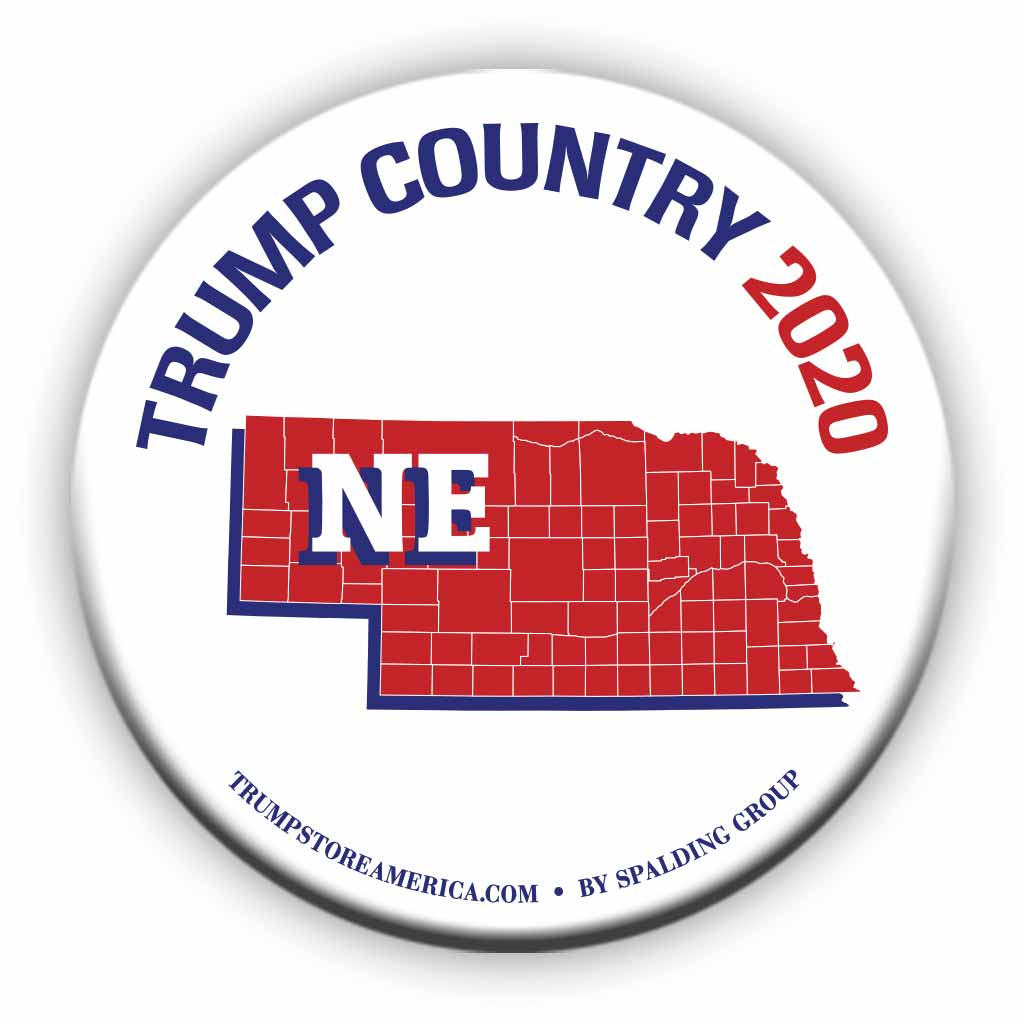 "Nebraska is Trump Country 2020 – 3"" Round Button"