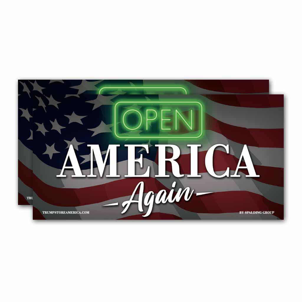 "Bumper Sticker - ""Open America Again"" (Pack of 2)"