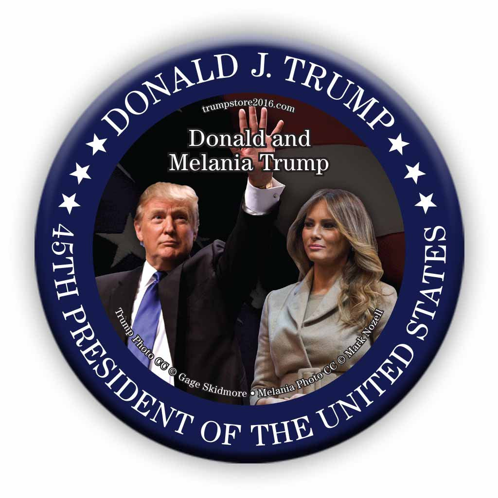 Trump Button - President Trump and First Lady Photo