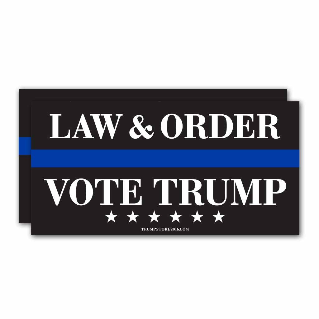 "(Pack of 2) Bumper Sticker - ""Law and Order - Vote Trump"""