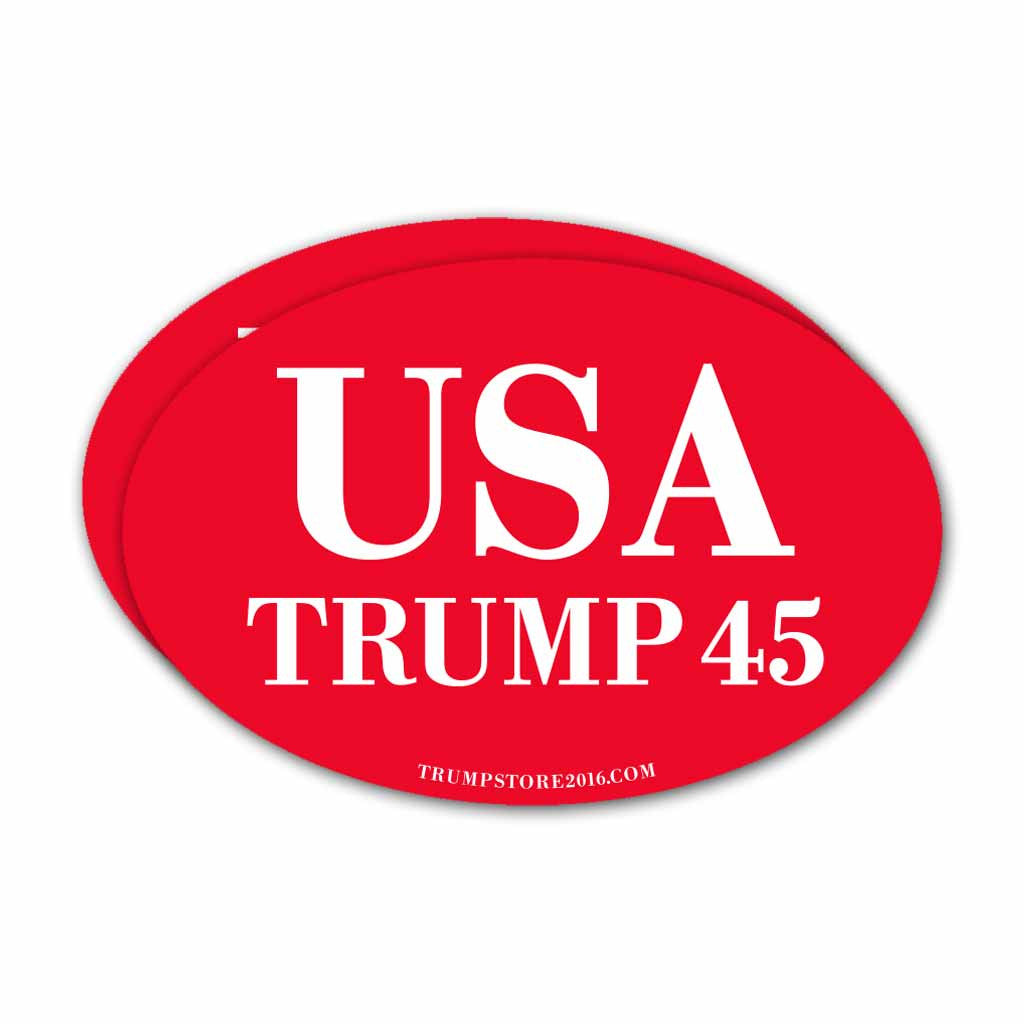 (Pack of 2) Oval USA Trump 45 Bumper Sticker