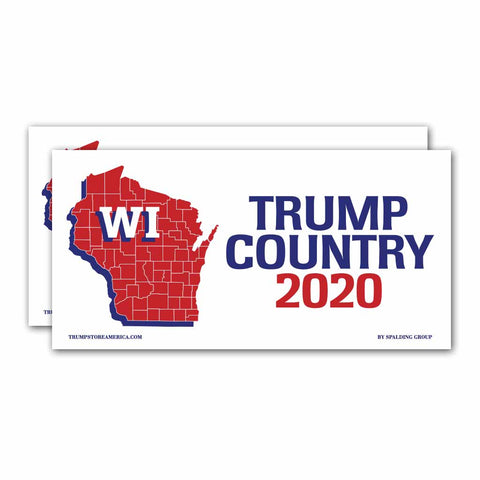 Wisconsin is Trump Country 2020 – Bumper Sticker pack of 2