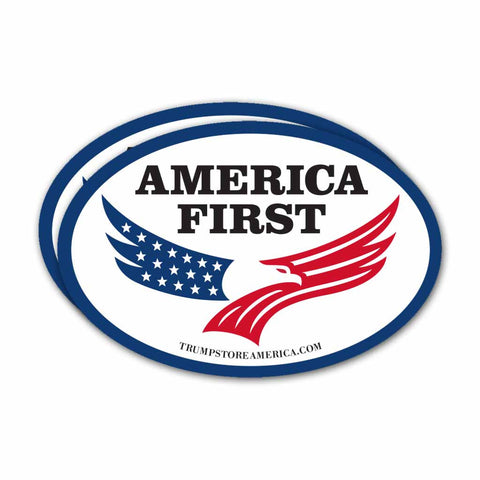 (Pack of 2) Oval America First Bumper Sticker
