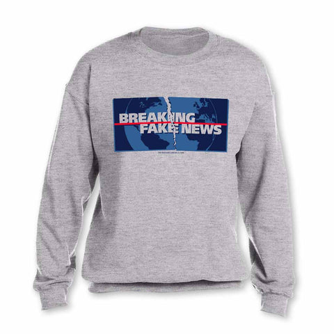 Trump Sweatshirt - Breaking Fake News - Gray