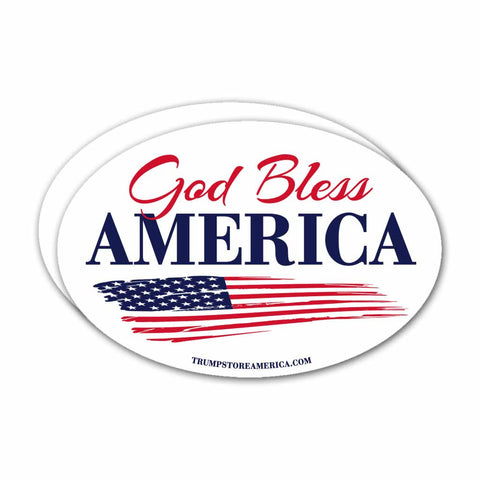 (Pack of 2) Oval God Bless America Bumper Sticker White