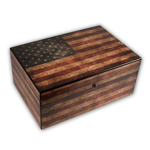 Cigar Humidor - American Flag (Personalization Option)