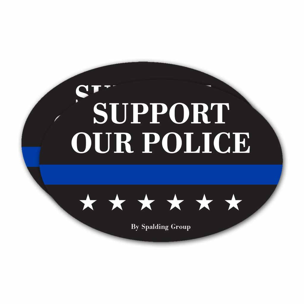 (Pack of 2) Oval Support Our Police Bumper Sticker