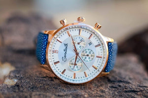 "Seventeenth Watches ""Sonder"" Chronograph White Dial/Blue StingRay Leather Strap"