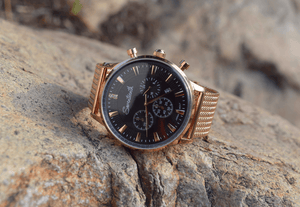 Seventeenth Watches Sonder Chronograph Black Dial/Rose Gold Mesh Strap