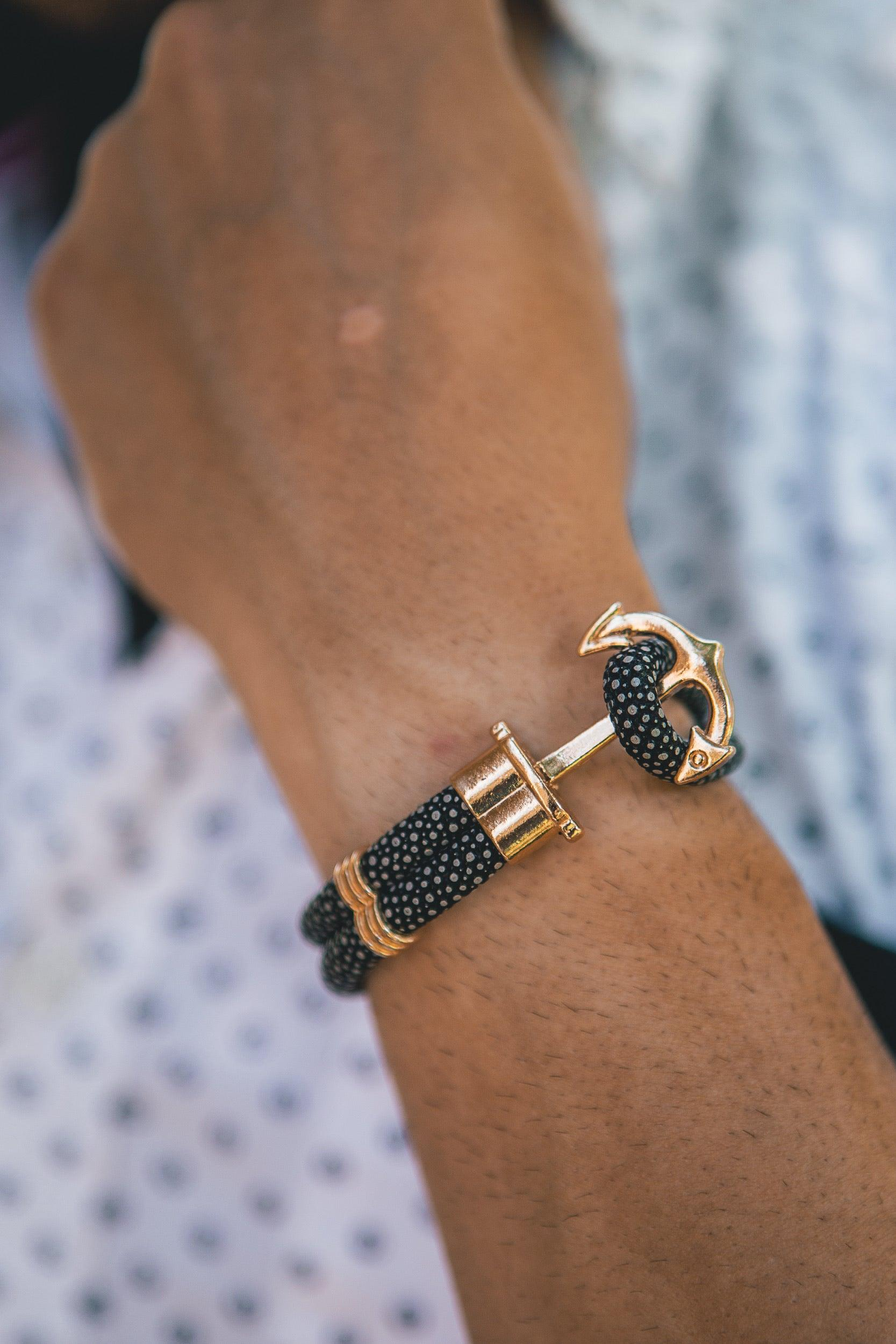 The Navy Blue/Gold Anchor Bracelet