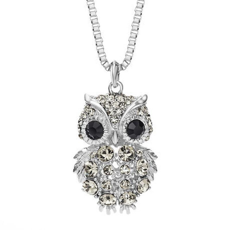 Women's Crystal Owl Long Necklace