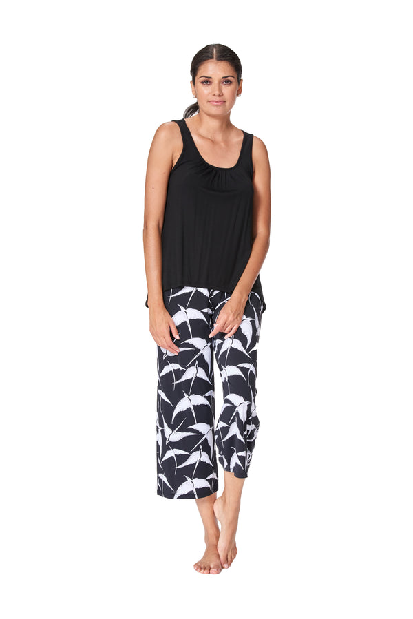 Laurence - 4093 - Asian Bird Print Capri